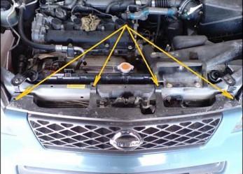 Установка сетки на передний бампер Nissan X-Trail