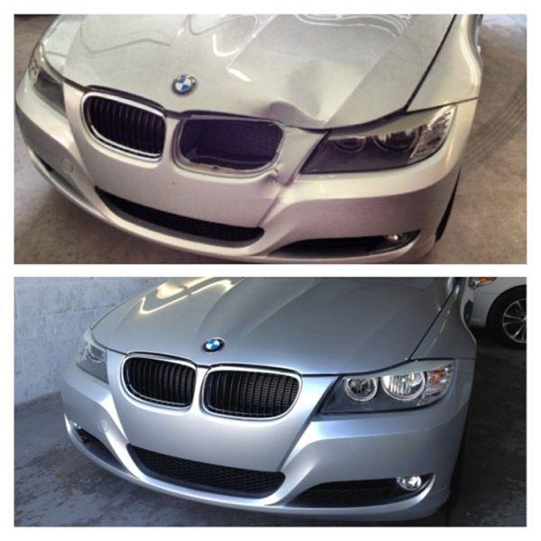 Хороший кузовной ремонт бампера и капота: фото до и после