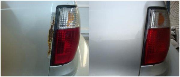 На фото кузовной ремонт задней части авто: до и после