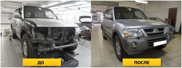 На фото кузовной ремонт переднего бампера: до и после