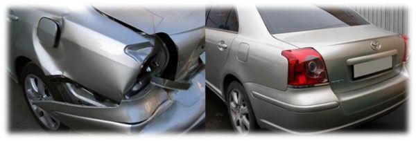 Фото до и после мелкого кузовного ремонта и покраски бампера