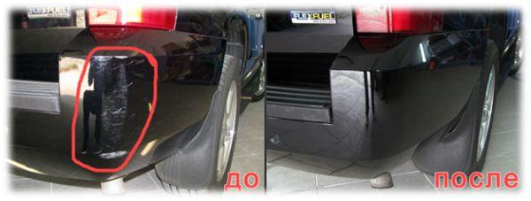 Резкльтат мелкого кузовного ремонта и покраски: фото до и после