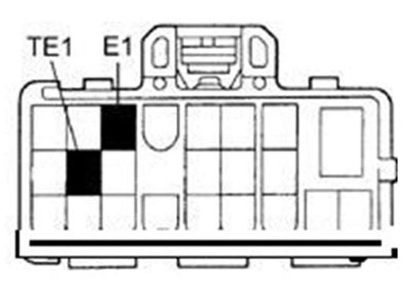 Схема расположения контактов ТЕ1 и Е1 в Toyota Corolla