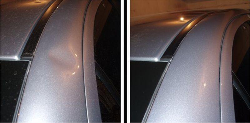 На фото ремонт вмятин без покраски: до и после ремонта