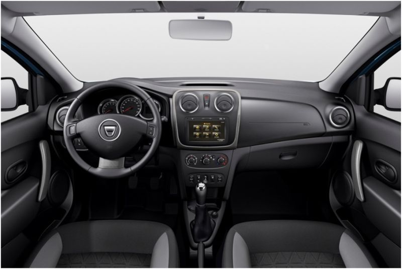 На фото Dacia Duster: центральная панель и руль
