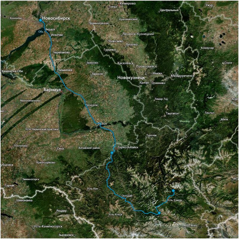 Карта маршрута Новосибирск - республика Алтай для Peugeot 2008