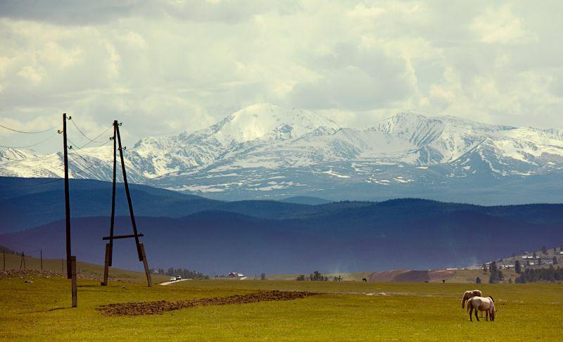 На фото снежные вершины гор Алтая из окна Peugeot 2008