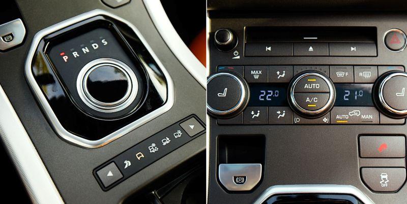 Range Rover Evoque: на фото селектор коробки передач