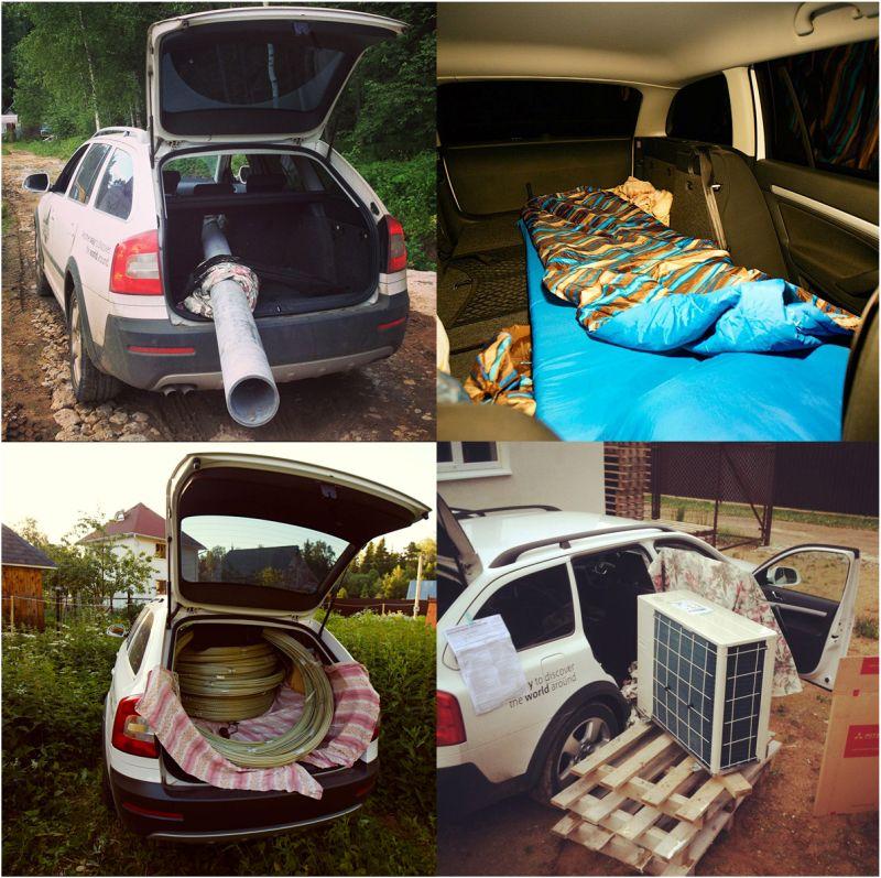 Фото возможностей для перевозки грузов и обустройства спального места Skoda Octavia Scout